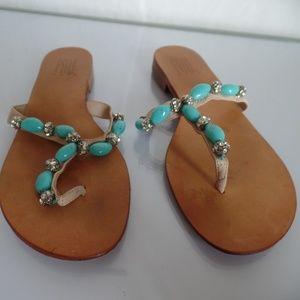 Pelle Moda Flip Flop Beaded Sandal 6